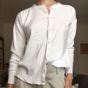 1960s Vintage French white button up thermal